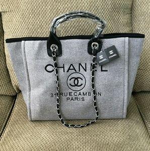 Chanel Silver Gray chain Canvas tote bag